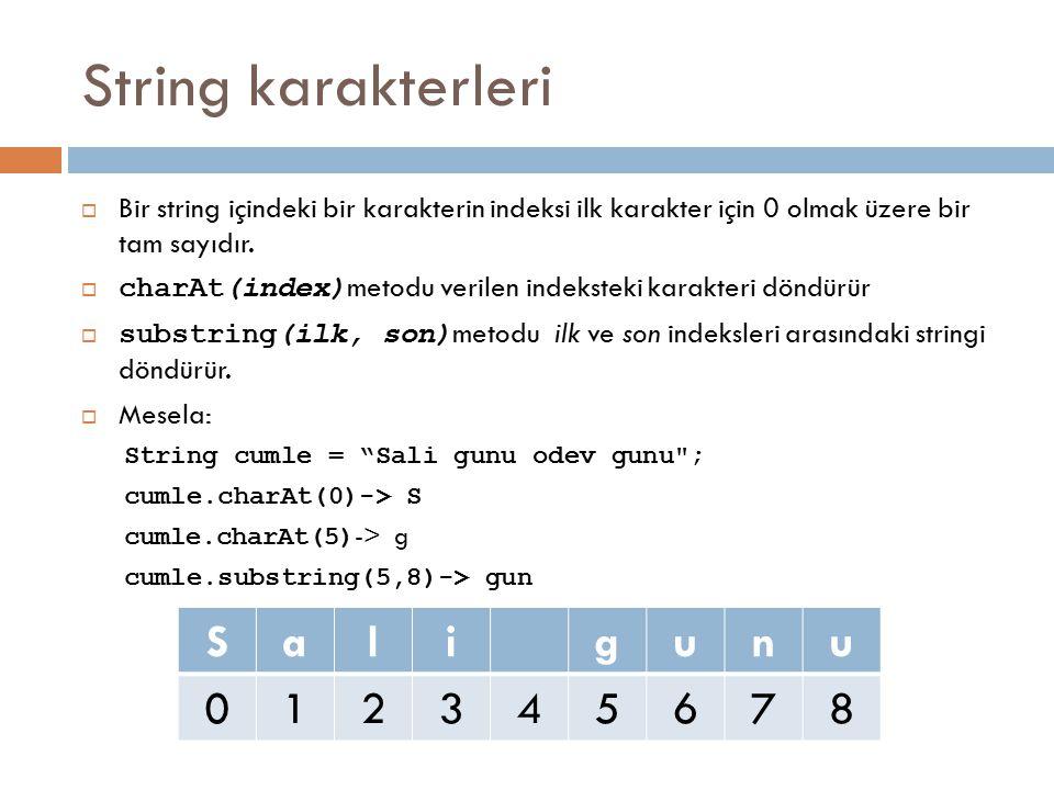 String karakterleri  Bir string içindeki bir karakterin indeksi ilk karakter için 0 olmak üzere bir tam sayıdır.  charAt(index) metodu verilen indek