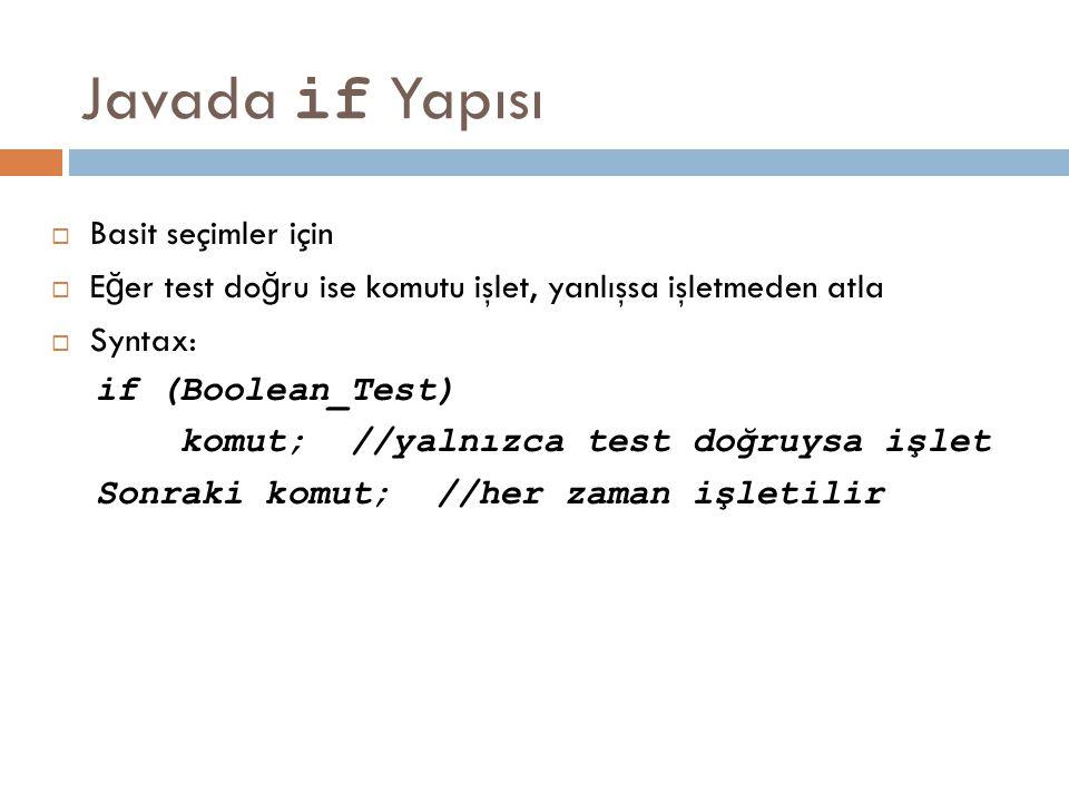 Javada if Yapısı  Basit seçimler için  E ğ er test do ğ ru ise komutu işlet, yanlışsa işletmeden atla  Syntax: if (Boolean_Test) komut; //yalnızca
