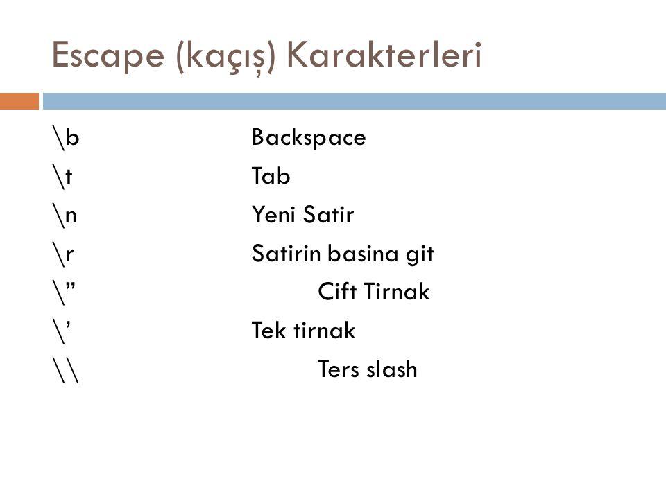 """Escape (kaçış) Karakterleri \bBackspace \tTab \nYeni Satir \rSatirin basina git \""""Cift Tirnak \'Tek tirnak \\Ters slash"""