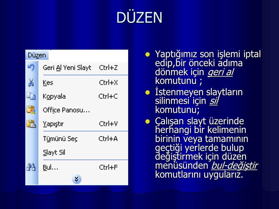 DOSYA Dosya ile ilgili işlemlerin yapıldığı bölümdür.