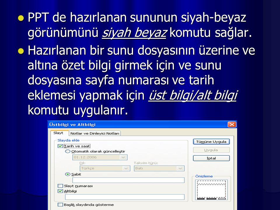 PPT de asıl slayt adında bir slayt düzeni vardır.Bu düzene göre,üstte başlık metni,altta paragraf metni;alt bilgi,tarih,sayfa numarası içeriğinden oluşmaktadır.
