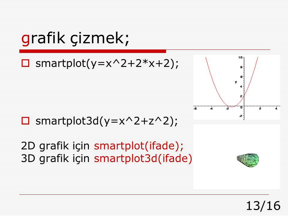13/16 grafik çizmek;  smartplot(y=x^2+2*x+2);  smartplot3d(y=x^2+z^2); 2D grafik için smartplot(ifade); 3D grafik için smartplot3d(ifade);