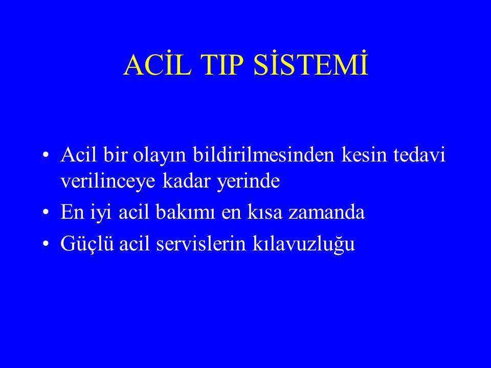 ACİL TIP SİSTEMİ acil tıbbi teknikerler, doktorlar, yardımcı sağlık personeli, hastane yönetimi, hükümet
