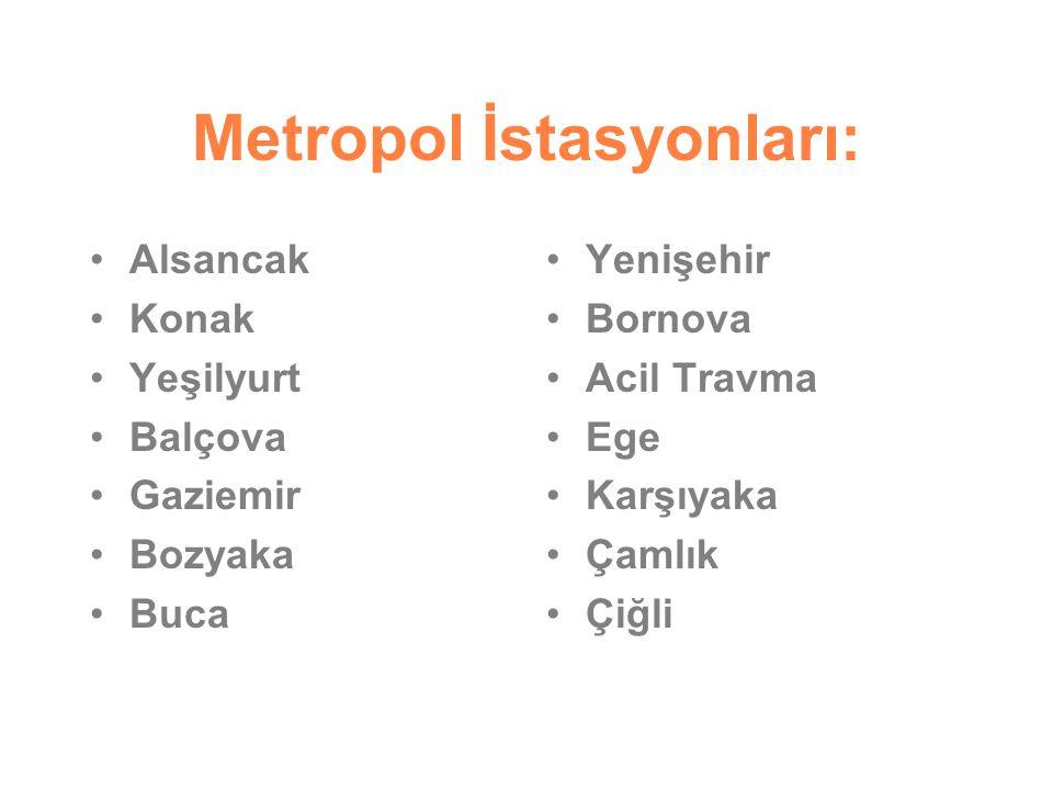 Metropol İstasyonları: Alsancak Konak Yeşilyurt Balçova Gaziemir Bozyaka Buca Yenişehir Bornova Acil Travma Ege Karşıyaka Çamlık Çiğli