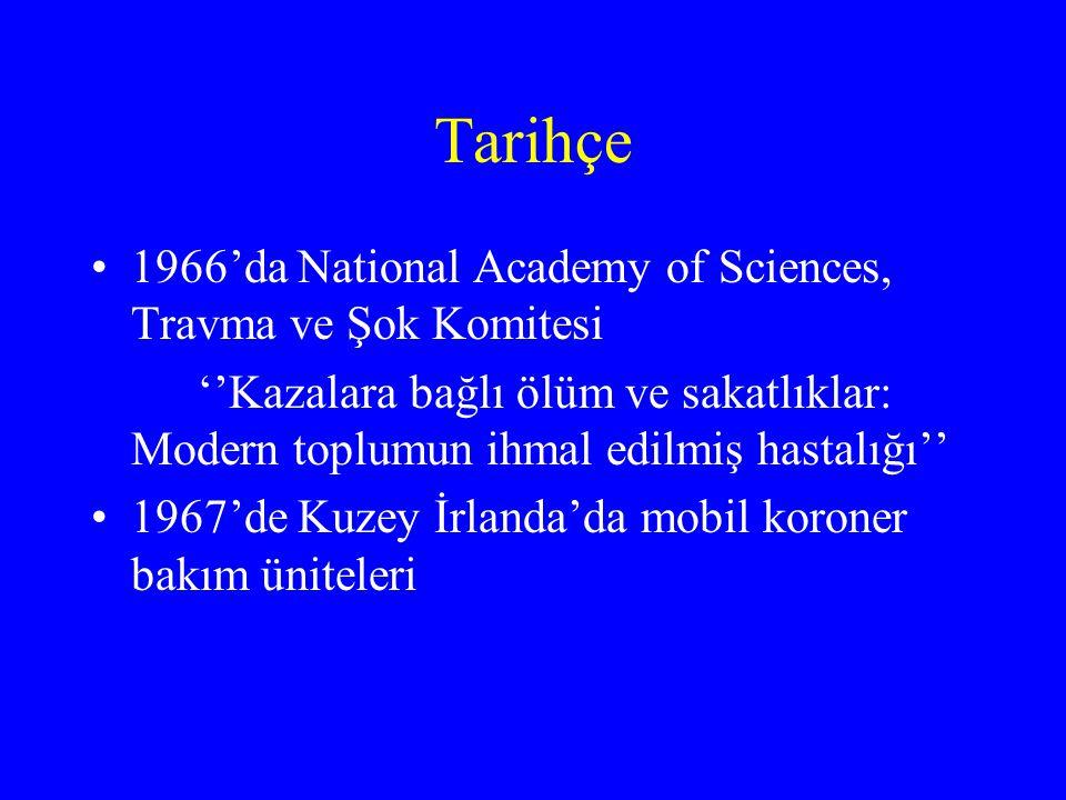 Tarihçe 1966'da National Academy of Sciences, Travma ve Şok Komitesi ''Kazalara bağlı ölüm ve sakatlıklar: Modern toplumun ihmal edilmiş hastalığı'' 1