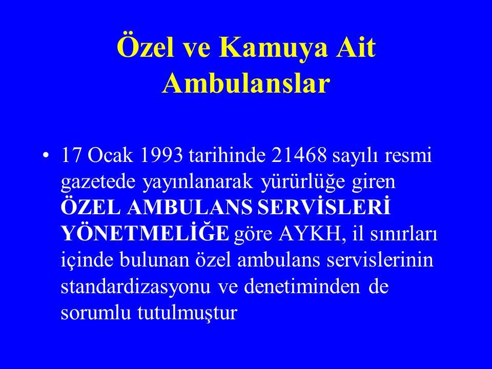 Özel ve Kamuya Ait Ambulanslar 17 Ocak 1993 tarihinde 21468 sayılı resmi gazetede yayınlanarak yürürlüğe giren ÖZEL AMBULANS SERVİSLERİ YÖNETMELİĞE göre AYKH, il sınırları içinde bulunan özel ambulans servislerinin standardizasyonu ve denetiminden de sorumlu tutulmuştur