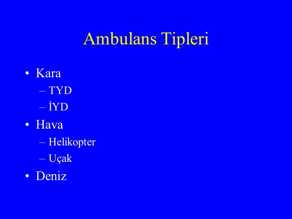 Ambulans Tipleri Kara –TYD –İYD Hava –Helikopter –Uçak Deniz