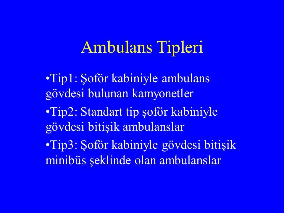 Ambulans Tipleri Tip1: Şoför kabiniyle ambulans gövdesi bulunan kamyonetler Tip2: Standart tip şoför kabiniyle gövdesi bitişik ambulanslar Tip3: Şoför kabiniyle gövdesi bitişik minibüs şeklinde olan ambulanslar