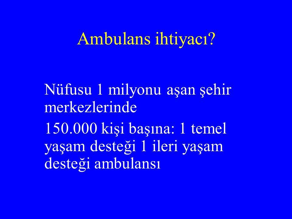Ambulans ihtiyacı? Nüfusu 1 milyonu aşan şehir merkezlerinde 150.000 kişi başına: 1 temel yaşam desteği 1 ileri yaşam desteği ambulansı