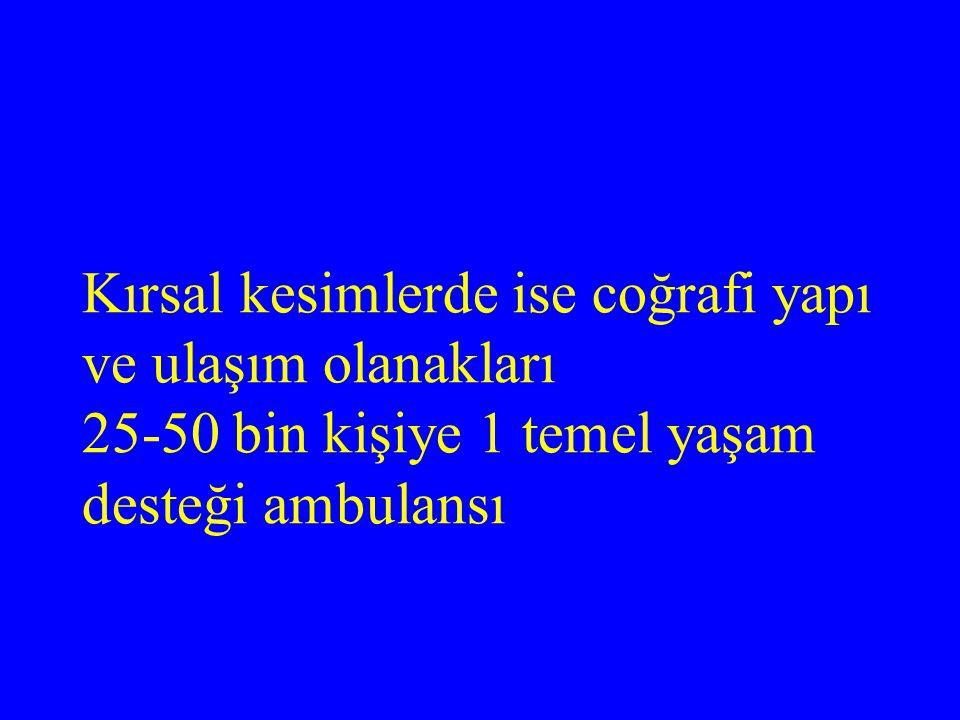 Kırsal kesimlerde ise coğrafi yapı ve ulaşım olanakları 25-50 bin kişiye 1 temel yaşam desteği ambulansı
