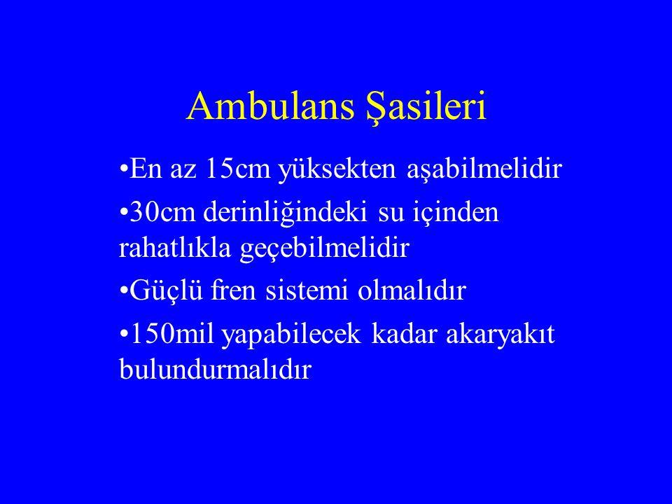 Ambulans Şasileri En az 15cm yüksekten aşabilmelidir 30cm derinliğindeki su içinden rahatlıkla geçebilmelidir Güçlü fren sistemi olmalıdır 150mil yapabilecek kadar akaryakıt bulundurmalıdır