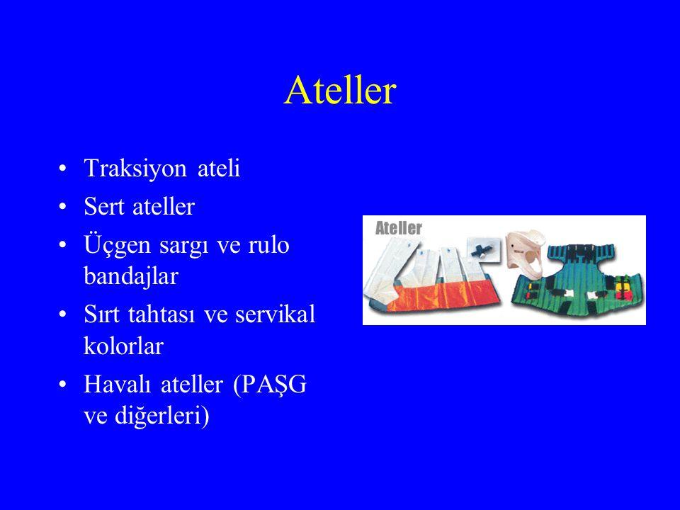 Ateller Traksiyon ateli Sert ateller Üçgen sargı ve rulo bandajlar Sırt tahtası ve servikal kolorlar Havalı ateller (PAŞG ve diğerleri)