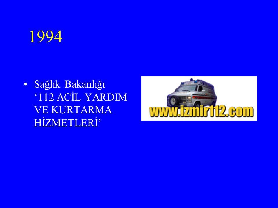 1994 Sağlık Bakanlığı '112 ACİL YARDIM VE KURTARMA HİZMETLERİ'