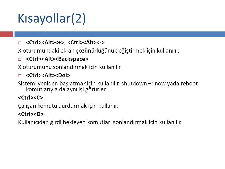 Kısayollar(2) , X oturumundaki ekran çözünürlüğünü değiştirmek için kullanılır.  X oturumunu sonlandırmak için kullanılır  Sistemi yeniden başlatma