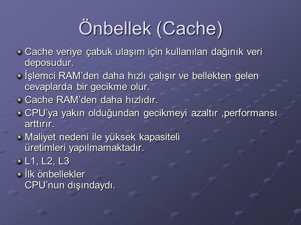 Önbellek (Cache) Cache veriye çabuk ulaşım için kullanılan dağınık veri deposudur. İşlemci RAM'den daha hızlı çalışır ve bellekten gelen cevaplarda bi