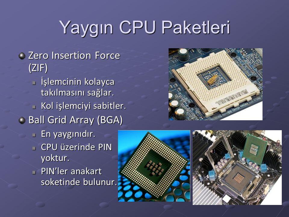 Yaygın CPU Paketleri Zero Insertion Force (ZIF) İşlemcinin kolayca takılmasını sağlar. İşlemcinin kolayca takılmasını sağlar. Kol işlemciyi sabitler.