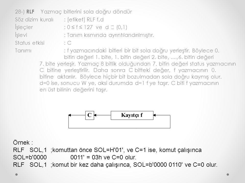 28-) RLF Yazmaç bitlerini sola doğru döndür Söz dizim kuralı : [etiket] RLF f,d İşleçler : 0 ≤ f ≤ 127 ve d  (0,1) İşlevi : Tanım kısmında ayrıntılandırılmıştır.