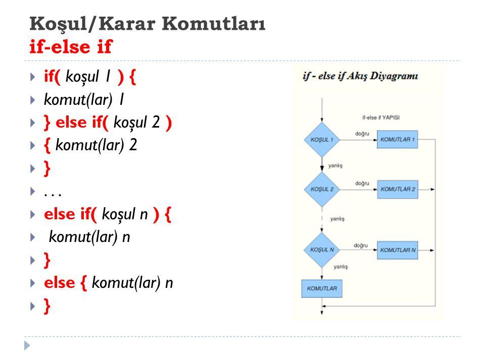 Koşul/Karar Komutları if-else if  if( koşul 1 ) {  komut(lar) 1  } else if( koşul 2 )  { komut(lar) 2  } ...