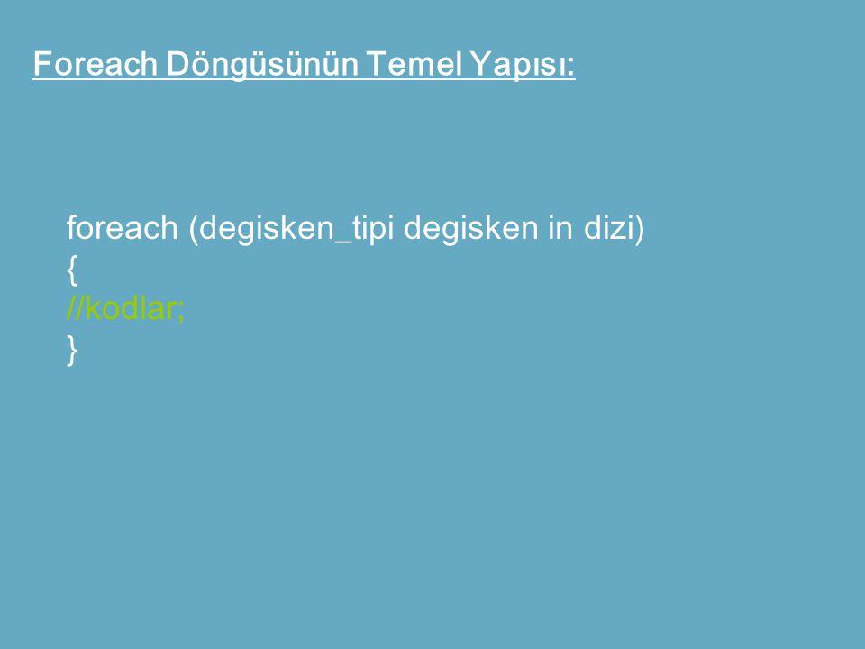 Foreach Döngüsünün Temel Yapısı: foreach (degisken_tipi degisken in dizi) { //kodlar; }