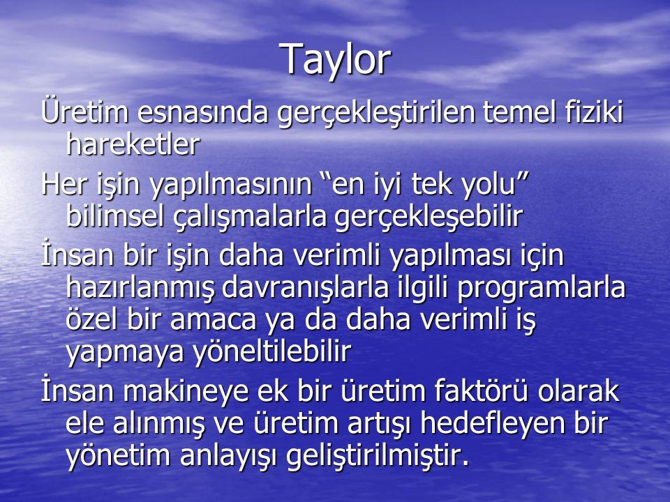 """Taylor Üretim esnasında gerçekleştirilen temel fiziki hareketler Her işin yapılmasının """"en iyi tek yolu"""" bilimsel çalışmalarla gerçekleşebilir İnsan b"""