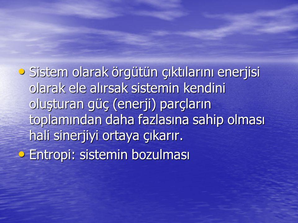 Sistem olarak örgütün çıktılarını enerjisi olarak ele alırsak sistemin kendini oluşturan güç (enerji) parçların toplamından daha fazlasına sahip olmas