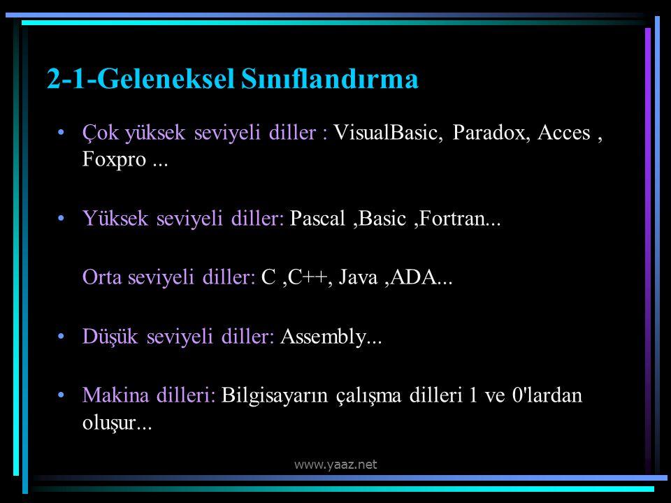 2-1-Geleneksel Sınıflandırma Çok yüksek seviyeli diller : VisualBasic, Paradox, Acces, Foxpro...