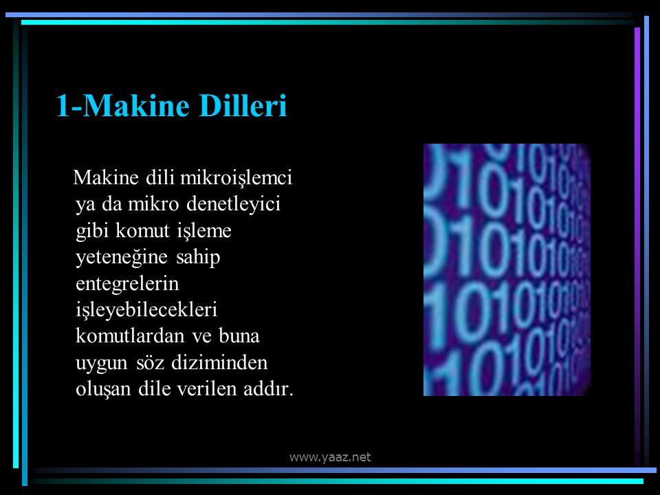 1-Makine Dilleri Makine dili mikroişlemci ya da mikro denetleyici gibi komut işleme yeteneğine sahip entegrelerin işleyebilecekleri komutlardan ve buna uygun söz diziminden oluşan dile verilen addır.