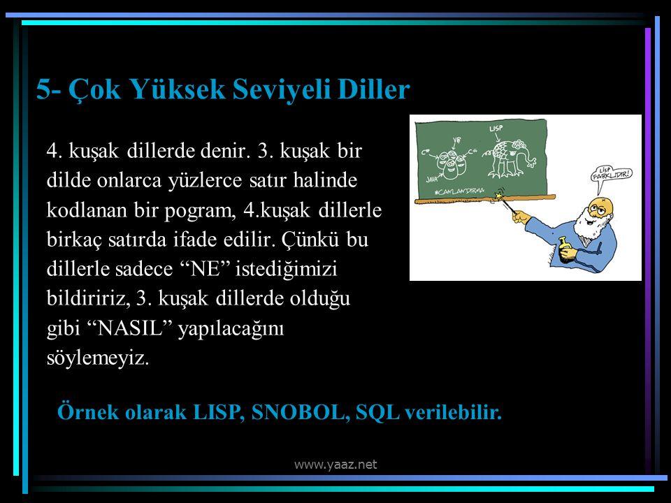 5- Çok Yüksek Seviyeli Diller 4.kuşak dillerde denir.