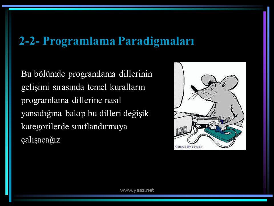 2-2- Programlama Paradigmaları Bu bölümde programlama dillerinin gelişimi sırasında temel kuralların programlama dillerine nasıl yansıdığına bakıp bu dilleri değişik kategorilerde sınıflandırmaya çalışacağız www.yaaz.net