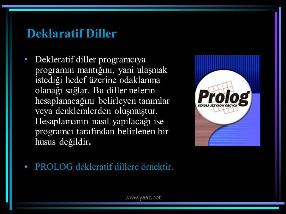 Deklaratif Diller Dekleratif diller programcıya programın mantığını, yani ulaşmak istediği hedef üzerine odaklanma olanağı sağlar.