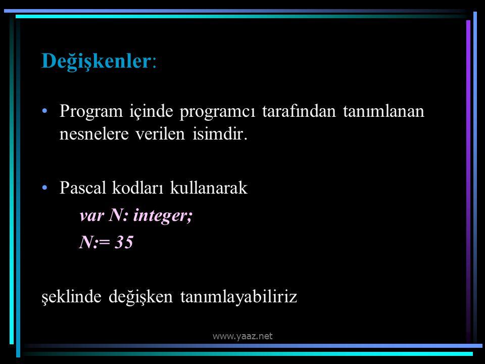 Değişkenler: Program içinde programcı tarafından tanımlanan nesnelere verilen isimdir.