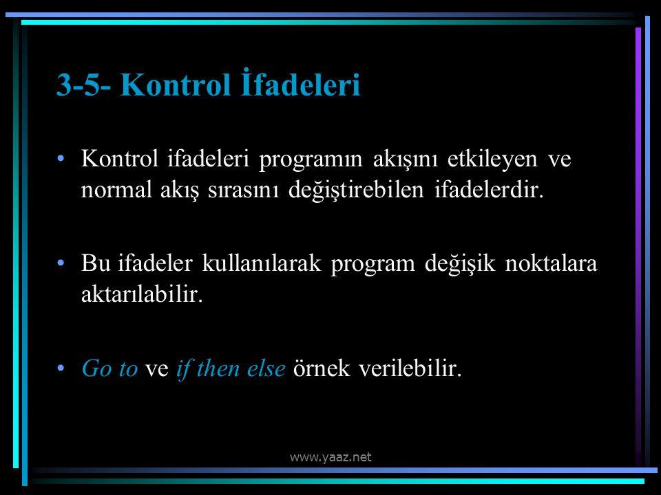 3-5- Kontrol İfadeleri Kontrol ifadeleri programın akışını etkileyen ve normal akış sırasını değiştirebilen ifadelerdir.