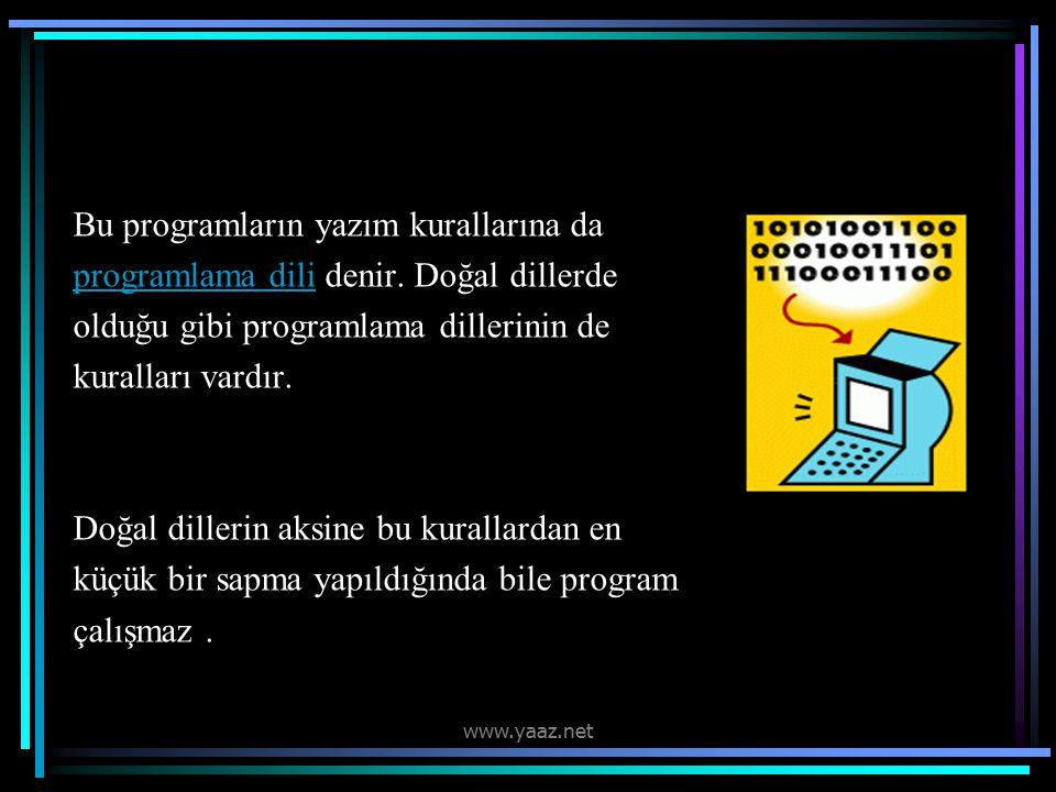 Bu programların yazım kurallarına da programlama dili denir.