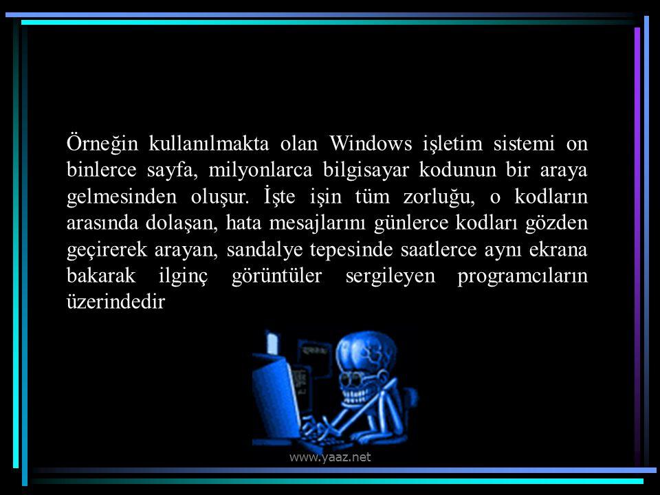 Örneğin kullanılmakta olan Windows işletim sistemi on binlerce sayfa, milyonlarca bilgisayar kodunun bir araya gelmesinden oluşur.
