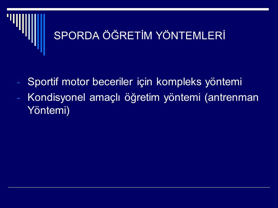 SPORDA ÖĞRETİM YÖNTEMLERİ - Sportif motor beceriler için kompleks yöntemi - Kondisyonel amaçlı öğretim yöntemi (antrenman Yöntemi)