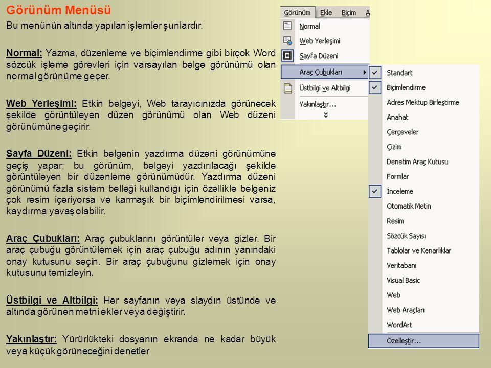 Görünüm Menüsü Bu menünün altında yapılan işlemler şunlardır. Normal: Yazma, düzenleme ve biçimlendirme gibi birçok Word sözcük işleme görevleri için