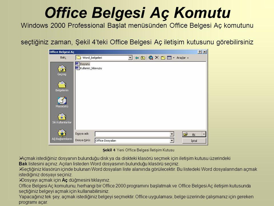Şekil 4 Yeni Office Belgesi İletişim Kutusu Office Belgesi Aç Komutu Windows 2000 Professional Başlat menüsünden Office Belgesi Aç komutunu seçtiğiniz