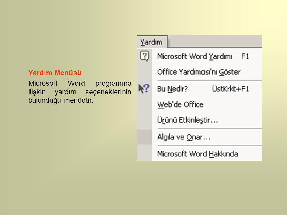 Yardım Menüsü Microsoft Word programına ilişkin yardım seçeneklerinin bulunduğu menüdür.