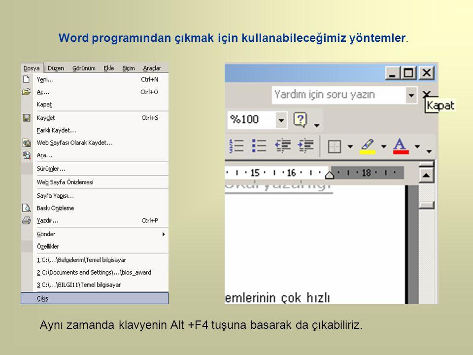 Word programından çıkmak için kullanabileceğimiz yöntemler. Aynı zamanda klavyenin Alt +F4 tuşuna basarak da çıkabiliriz.