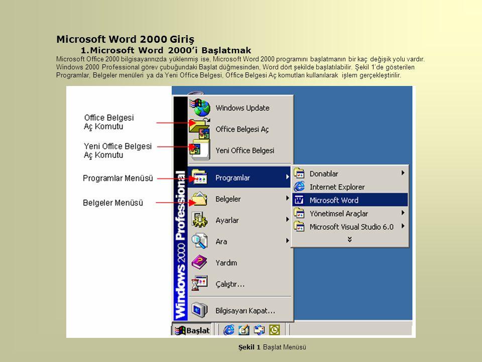 Microsoft Word 2000 Giriş 1.Microsoft Word 2000'i Başlatmak Microsoft Office 2000 bilgisayarınızda yüklenmiş ise, Microsoft Word 2000 programını başla