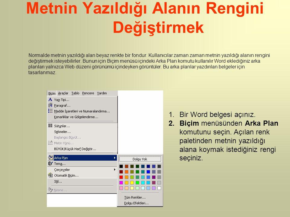 Metnin Yazıldığı Alanın Rengini Değiştirmek Normalde metnin yazıldığı alan beyaz renkte bir fondur. Kullanıcılar zaman zaman metnin yazıldığı alanın r