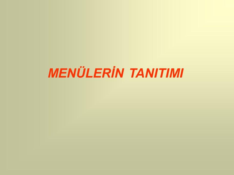 MENÜLERİN TANITIMI