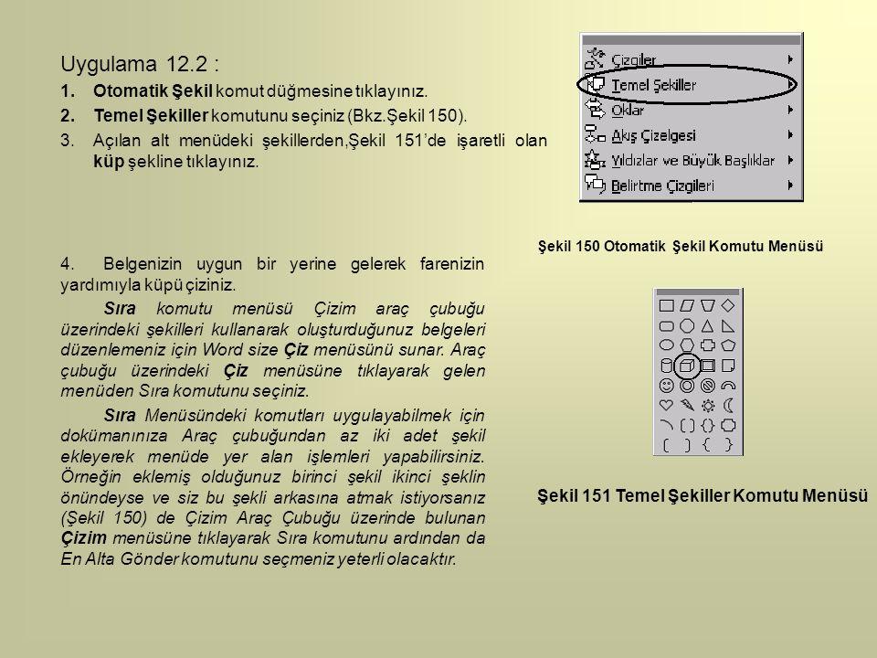 Şekil 150 Otomatik Şekil Komutu Menüsü Uygulama 12.2 : 1.Otomatik Şekil komut düğmesine tıklayınız. 2.Temel Şekiller komutunu seçiniz (Bkz.Şekil 150).