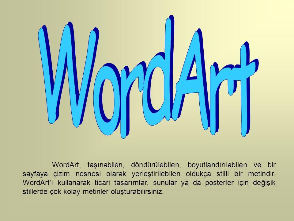WordArt, taşınabilen, döndürülebilen, boyutlandırılabilen ve bir sayfaya çizim nesnesi olarak yerleştirilebilen oldukça stilli bir metindir. WordArt'ı