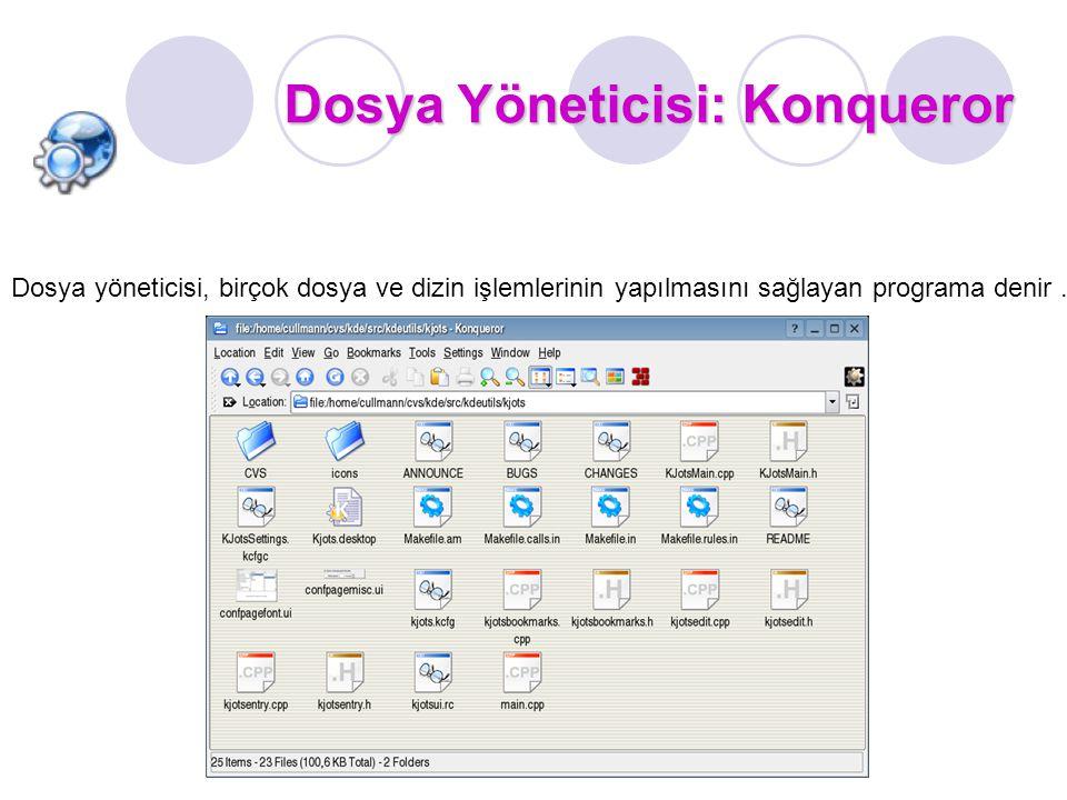 Dosya Yöneticisi: Konqueror Dosya yöneticisi, birçok dosya ve dizin işlemlerinin yapılmasını sağlayan programa denir.