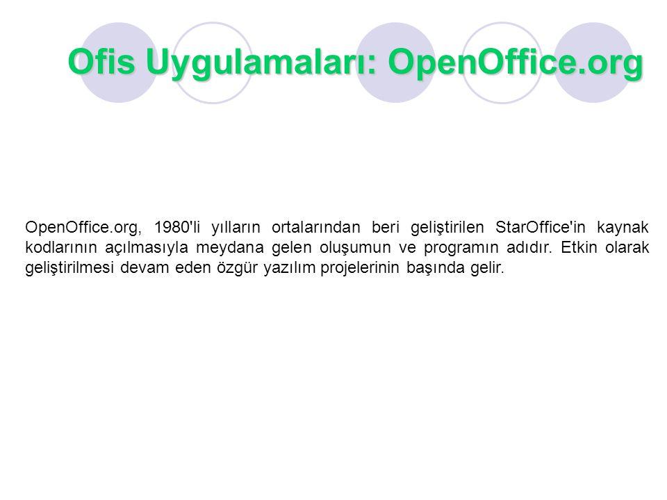 Ofis Uygulamaları: OpenOffice.org OpenOffice.org, 1980'li yılların ortalarından beri geliştirilen StarOffice'in kaynak kodlarının açılmasıyla meydana