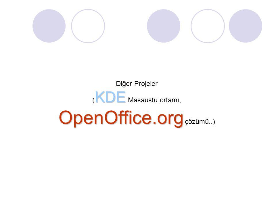 Diğer Projeler KDE ( KDE Masaüstü ortamı, OpenOffice.org OpenOffice.org çözümü..)