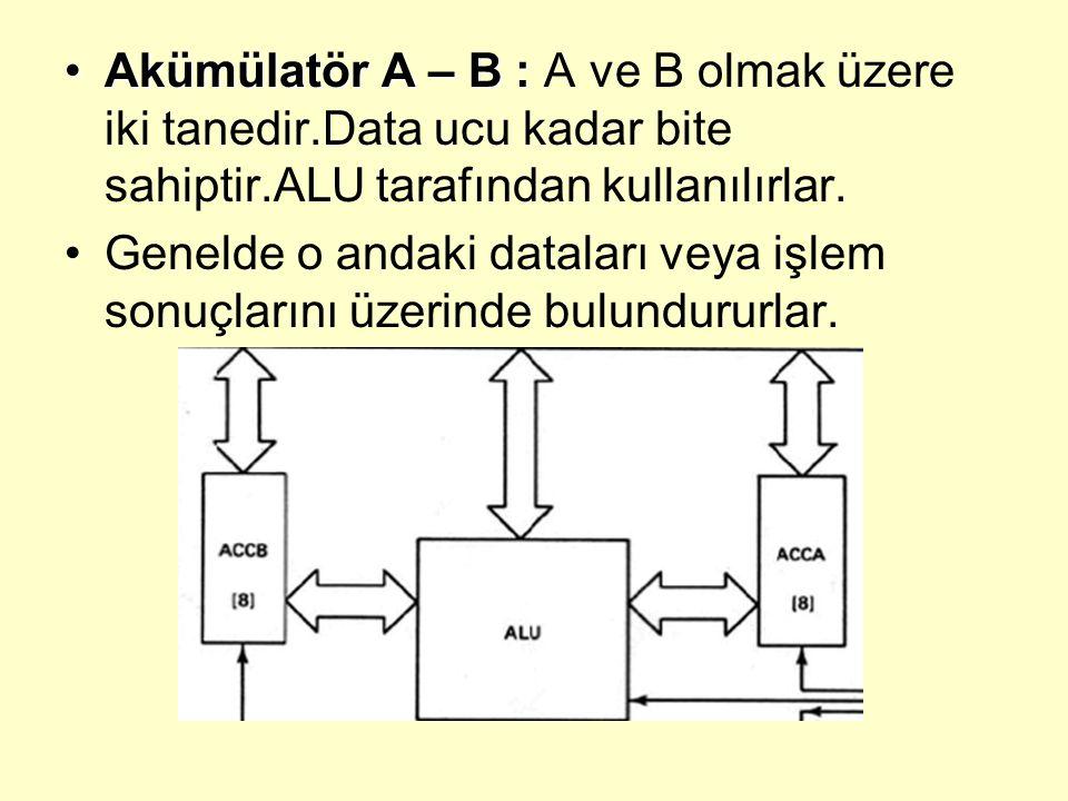 Akümülatör A – B :Akümülatör A – B : A ve B olmak üzere iki tanedir.Data ucu kadar bite sahiptir.ALU tarafından kullanılırlar. Genelde o andaki datala
