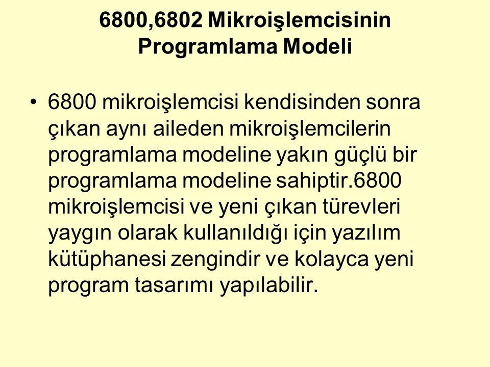 6800,6802 Mikroişlemcisinin Programlama Modeli 6800 mikroişlemcisi kendisinden sonra çıkan aynı aileden mikroişlemcilerin programlama modeline yakın g