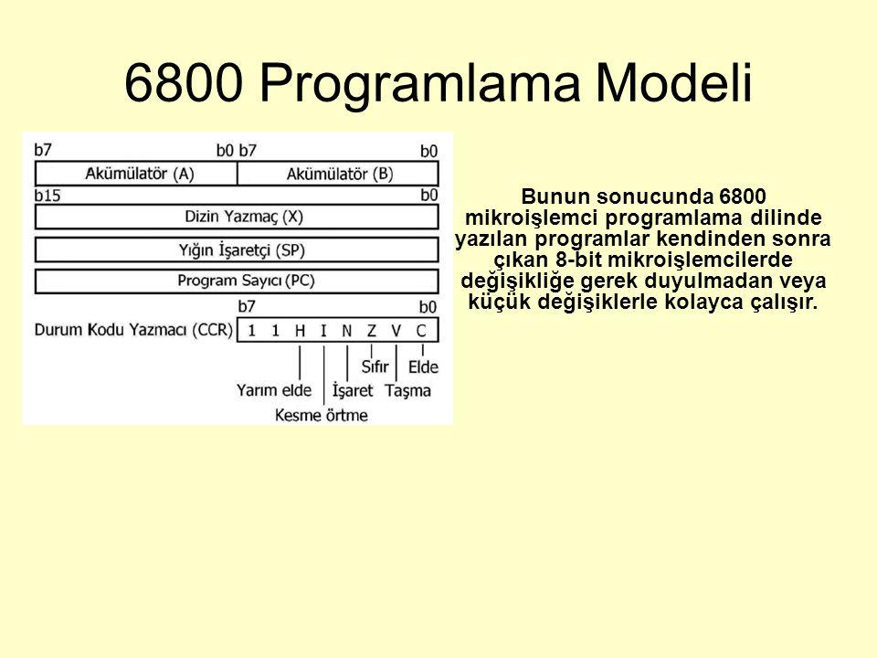 6800 Programlama Modeli Bunun sonucunda 6800 mikroişlemci programlama dilinde yazılan programlar kendinden sonra çıkan 8-bit mikroişlemcilerde değişikliğe gerek duyulmadan veya küçük değişiklerle kolayca çalışır.